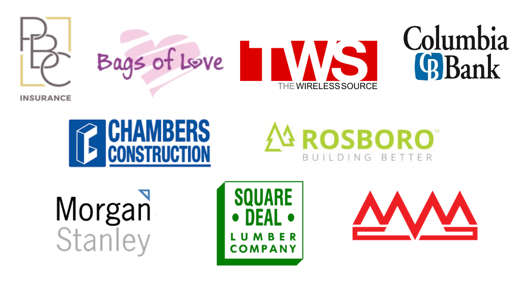 Logos for Bags of Love, The Wireless Source, Rosboro Lumber, Squaredeal Lumber, MidValley Metals, Morgan Stanely, Chambers Construction, Columbia Bank, and Pacific Beneftis Consultants on a white background