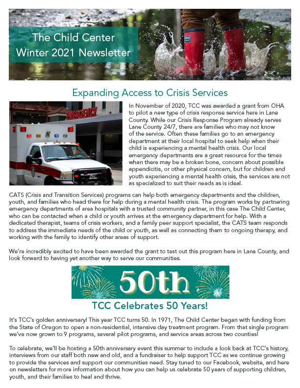 """The front page of the Winter 2021 TCC Newsletter shows an image of a child's red rainboots splashing in a puddle, and next to the section titled """"Expanding Access to Crisis Services"""" is an image of an ambulance driving into view."""