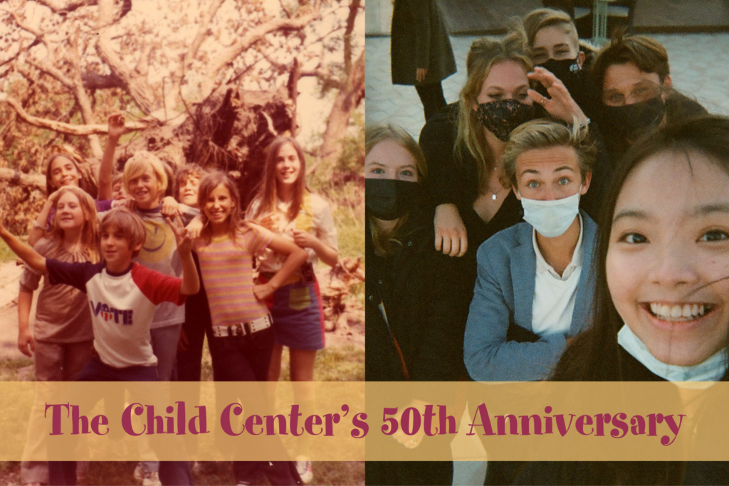 Two photos of a group of smiling teenagers are set next to each other. On the right the photo is clearly from the 70s, on the left the photo is likely from 2020. At the bottom text reads: The Child Center's 50th Anniversary