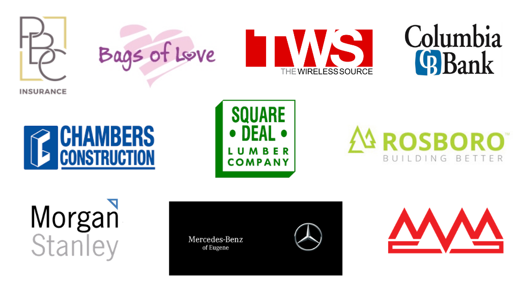 On a white background we see the logos of Pacific Benefits Consultants, Bags of Love, The Wireless Source, Columbia Bank, Chambers Construction, Square Deal Lumber, Rosboro Lumber, MorganStanley, Mercedes-Benz of Eugene, and MidValley Metals