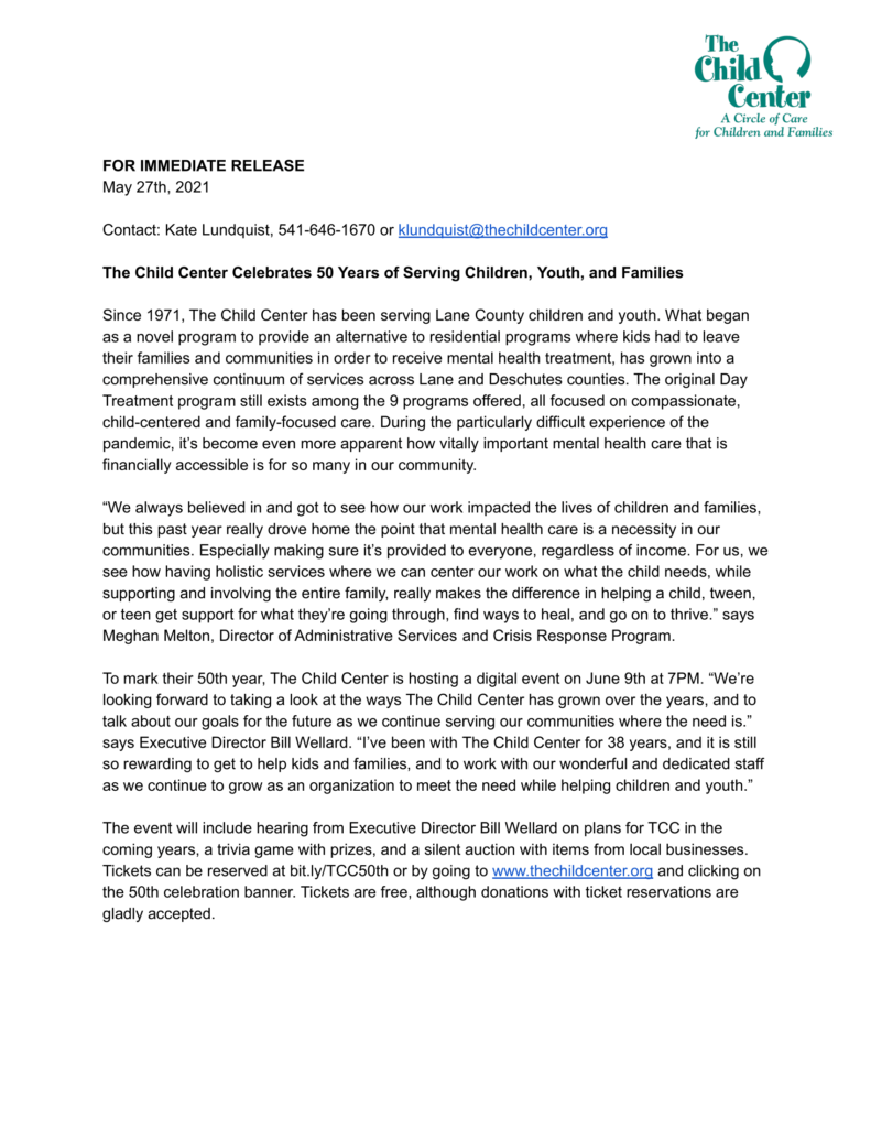 On a white background is the text for a press release about The Child Center hosting a 50th Anniversary Celebration. If you click on this image, it will open a PDF which is downloadable.