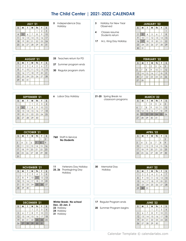 A black and white calendar for the 2021-22 TCC schedule for classroom-based services. If you click on this image it opens a PDF that you can download